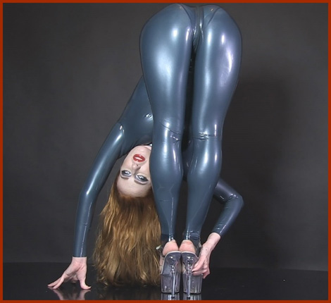 gymnast blonde in blue latex