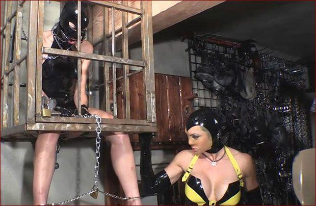 latex fetish - femdom strapon - part 2 (iron cage)