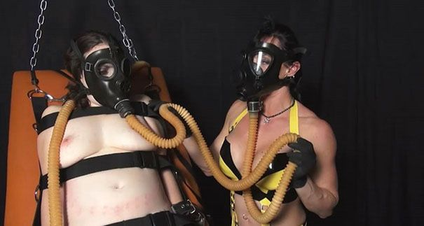 bdsm latex in gas masks