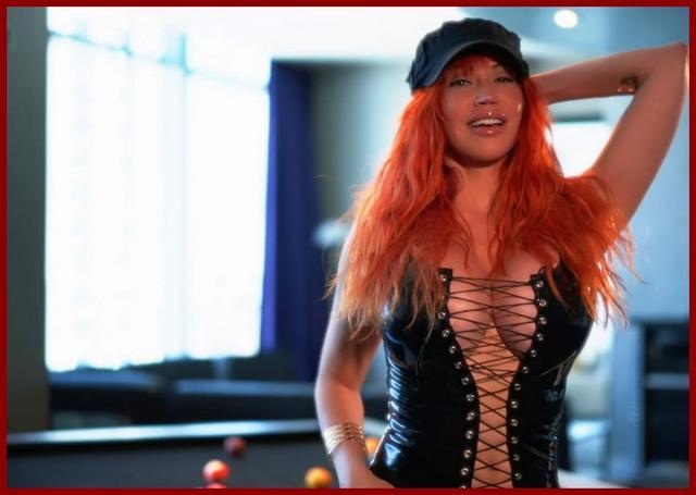 girl in latex corset