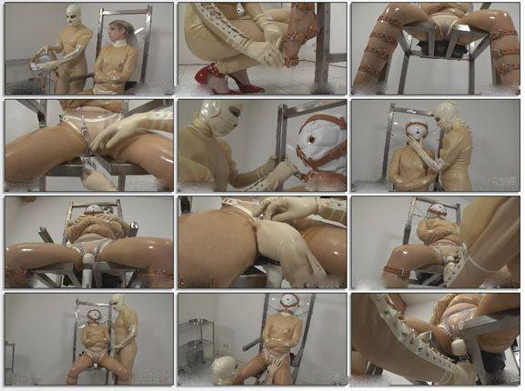 Latex straitjacket bondage
