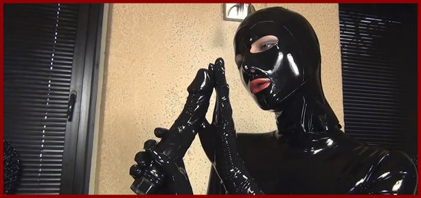 girl black rubber suit