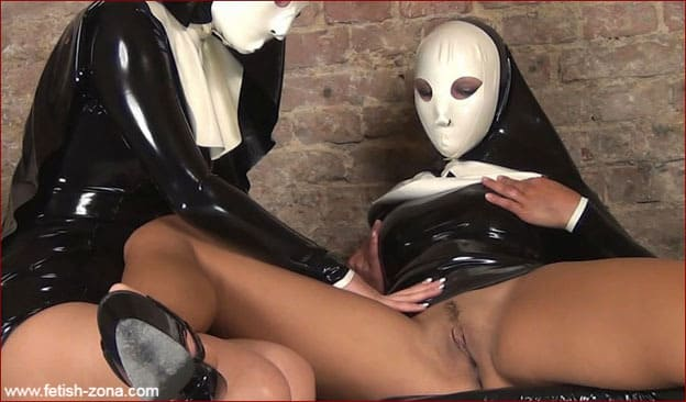 NastyRubberGirls - Lesbian masturbation fantasies in nuns latex clothes [HD 720p]