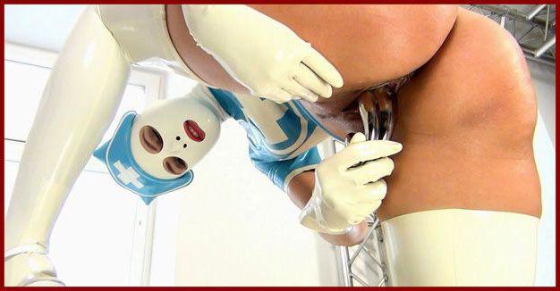 NastyRubberGirls - Samantha ,Lena - Nurse in rubber masturbates his vagina | HD 720p