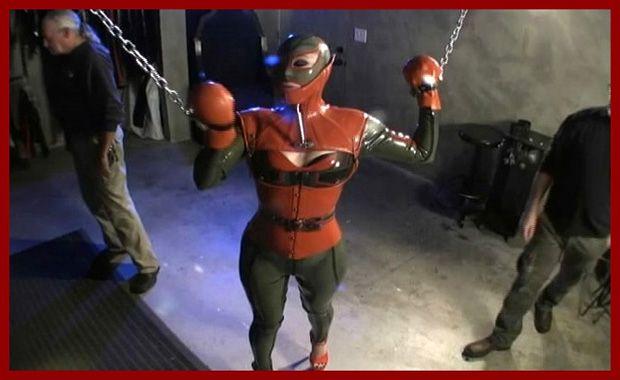Serious Images - Rubber Elle - Rubber bondage in basement [MP4 480p]