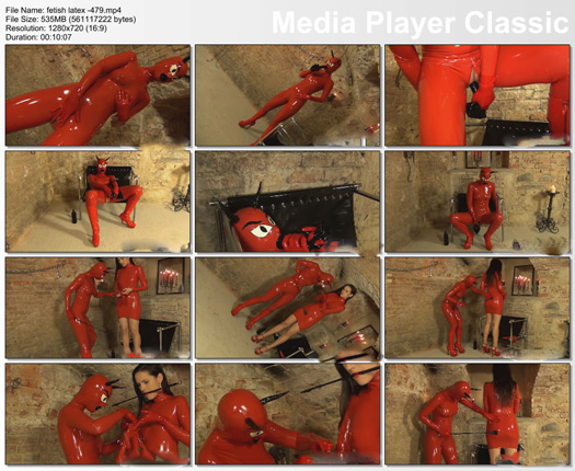 submissive sex slave with rubber woman in devil costume