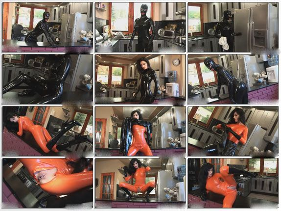 fetish kitchen with rubber lesbians
