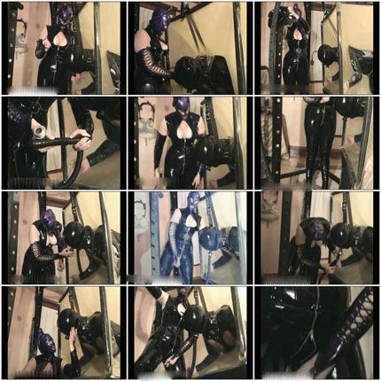 Amanda Wildefyre and Man orgasm in rubber cube