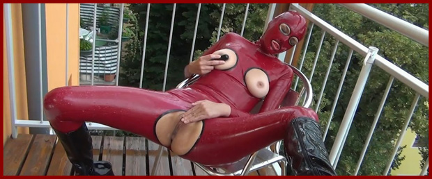 rubber girl red suits