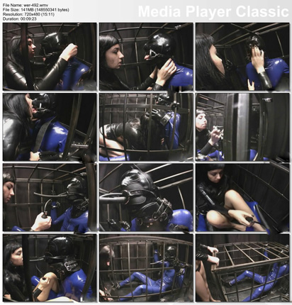 rubber bondage in iron cage