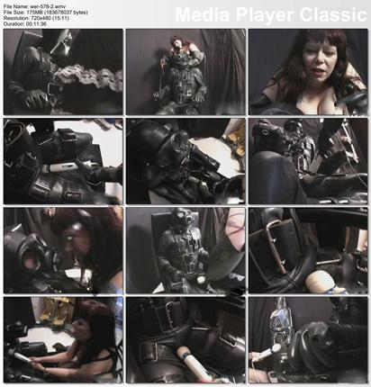men in rubber bondage armchair