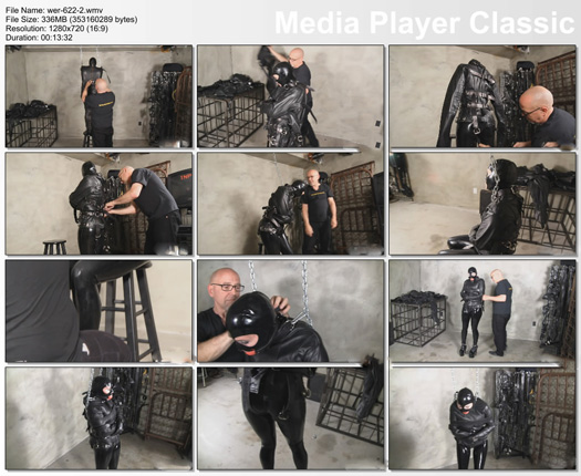 training bondage of young girl in rubber