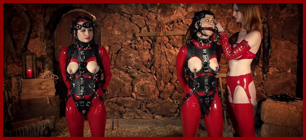 latex girls in stables