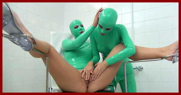 lesbians in light green rubber suits