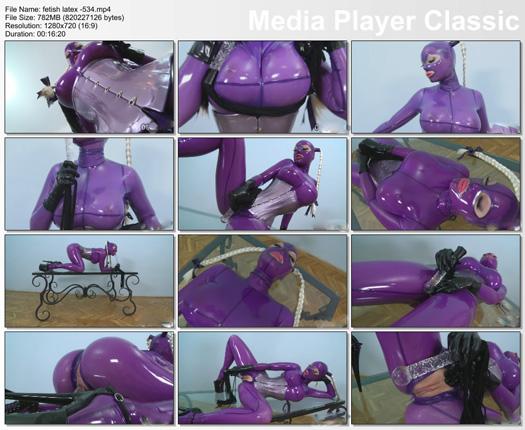 latex lucy masturbation in lilac latex