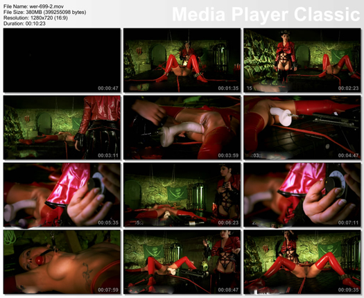 lady dominant over girl in rubber red stockings