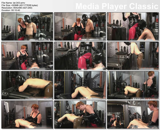 slave boy in rubber submits to woman part-2