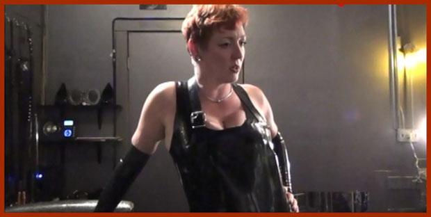 woman in fetish dress