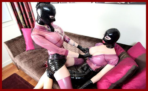 latex lesbians kissing in porn video