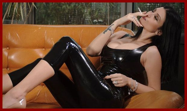 smoking girl in sexy latex