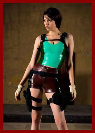 latex girl in image of Lara Croft