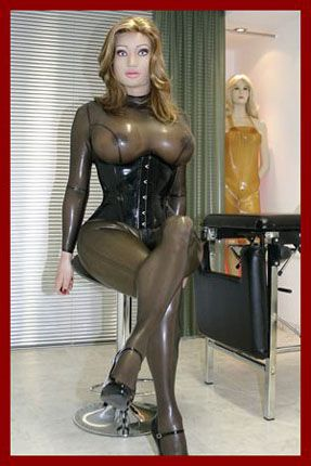 rubber sissy in overalls