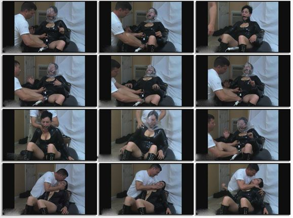 Breathplay orgasm from an experienced husband in porno clip