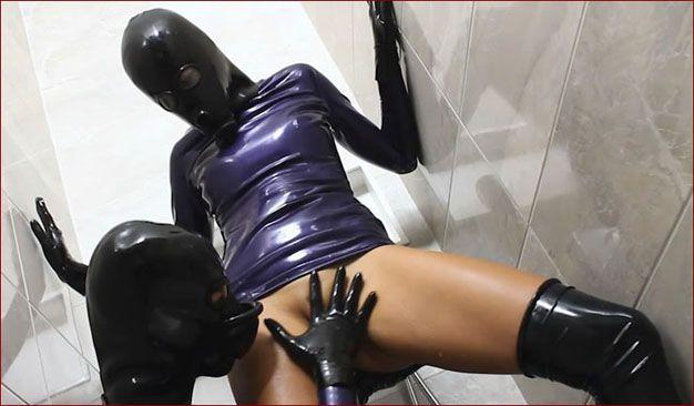 Barbara, Mia - Sex games latex lady in shower room PT2 [HD 720p]
