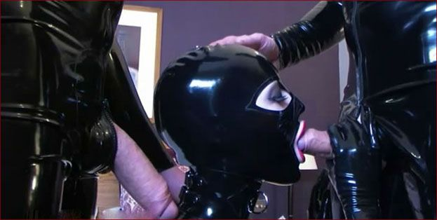 Latex Lucy - Double blowjob from big titted beauty [MP4 480p]