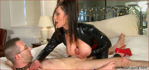 Miss Hybrid - Handjob from English lady in latex [FULL HD 1080p]