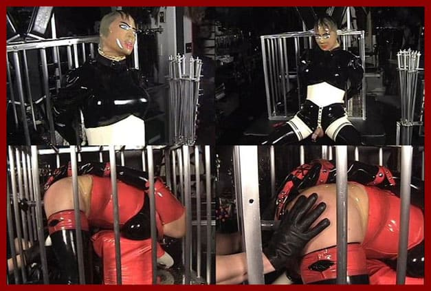 Mistress Amanda Wildefyre - Rubber doll bondage in iron cage [MP4 480p]