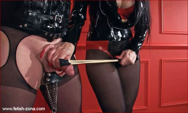 Mistress Nikita - Dick and ball torture from Mrs in latex jacket [FULL HD 1080p / Obeynikita]