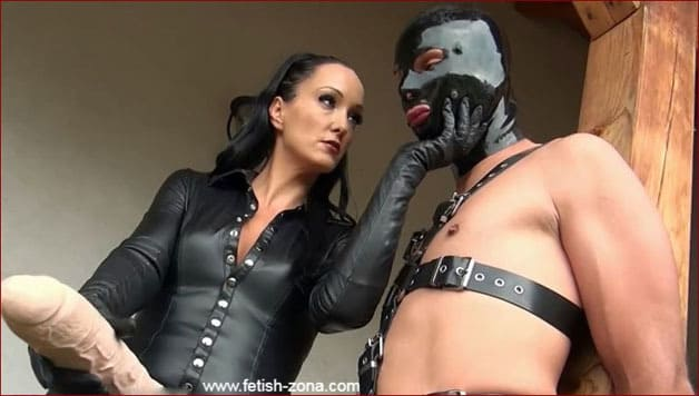 Huge strapon for guy in latex mask [HD 720p / Dirty Dommes]