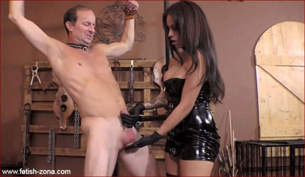 Jamie Valentine - Ballbusting Milking from charming Mrs in latex [HD 720p]