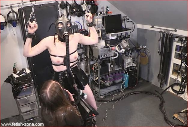 Mrs Feendish - Bondage porn torture for submissive rubber slut [HD 720p]