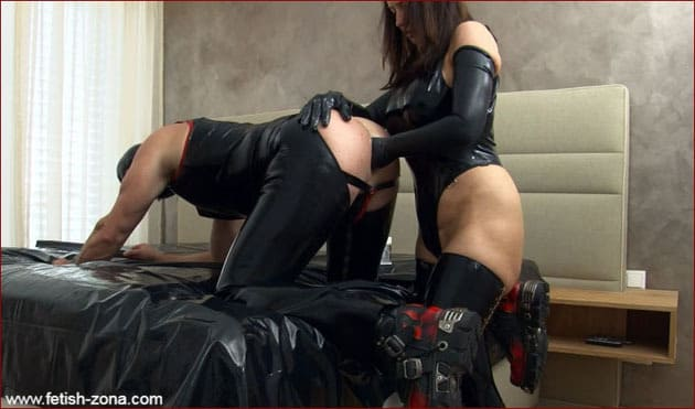 Latex sex slave cums with her fist in his ass [FULL HD 1080p / Femdom - Strapon - Fisting]