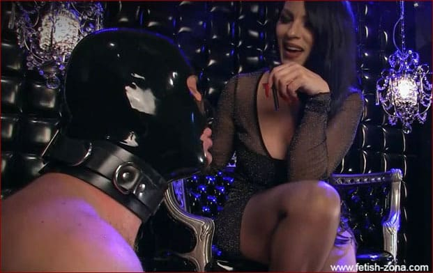 Mistress Nikita - Femdom Smoker And Latex Masked Slave At Her Feet [FULL HD 1080p]