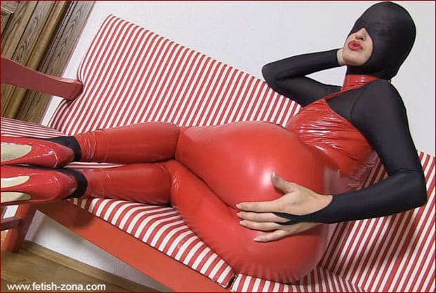 Latex tight jumpsuit on bare skin sexy model [FULL HD 1080p]