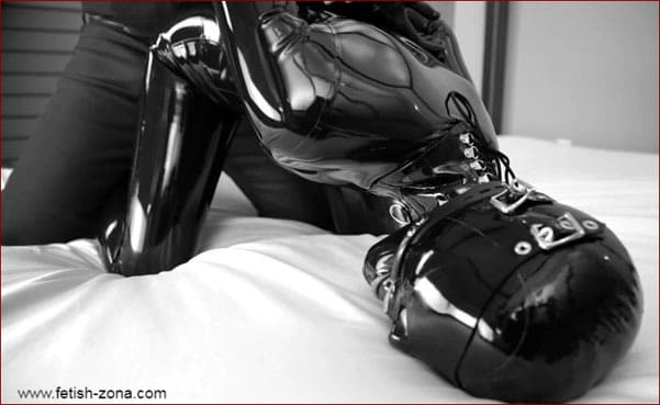 Vespa - Handcuffs and ball gag for girl in black latex [FULL HD 1080p]