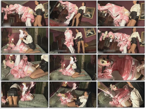 Rubber Doll Jenna - Sissy whore in pink and mistress with strap-on - HD 720p