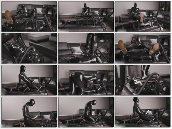 Cam Damage - Breathplay bondage in black latex - FULL HD 1080p