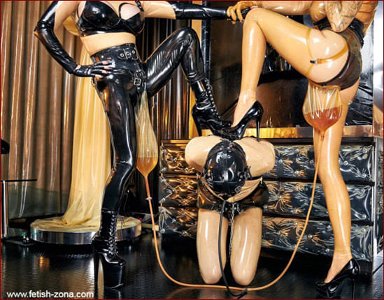 Lady Ashley - Kinky piss play for rubber slave - HD 720p