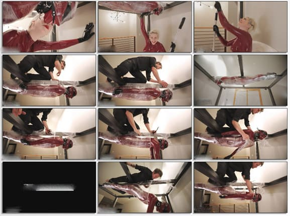 Rope Candy - Mummification bondage for Vespa in red latex - FULL HD 1080p