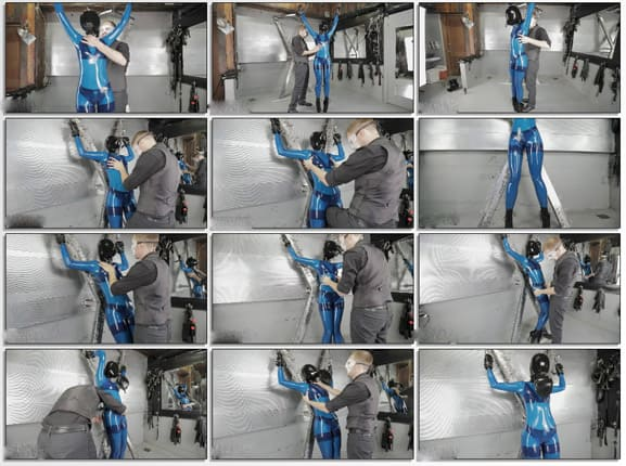 Vespa - Breath play and bullying for girl in blue latex - FULL HD 1080p (Bondage & Inflatable)