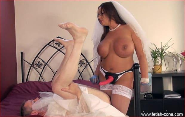 Big Breasted Brides Strapon Fucks Crossdresser Husband - HD 720p
