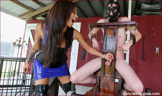 Jamie Valentine - Hardcore cock milking from brunette in latex dress - HD 720p