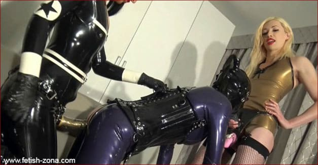 Latex crossdresser fucked in mouth and ass - HD 720p