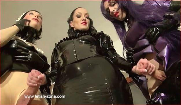 Intense wank for couple rubber maids - HD 720p