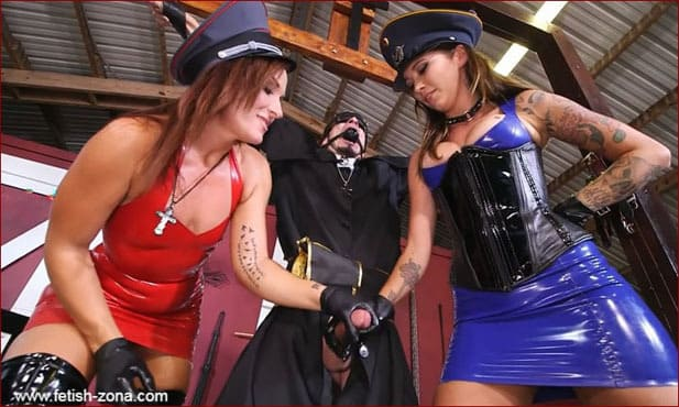 Charley Hart and Callie Nicole in latex dominate a reverend - HD 720p