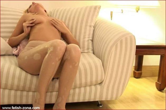 Hot blonde nude in sheer latex tights - FULL HD 1080p